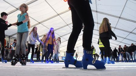Ice skaters enjoying the Eastern Daily Press and Norwich Evening News Ice Rink. Picture: DENISE BRAD