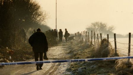 Police at the site on Griston Road where Johanna's body was discovered on Boxing Day in 1992. Photo: