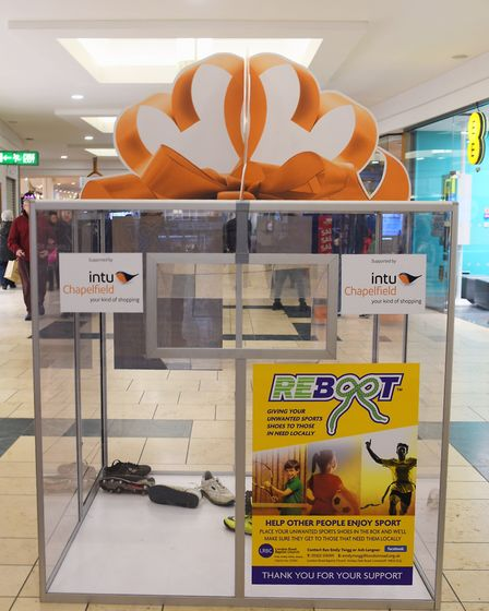 The perspex box at Intu Chapelfield, placed there by the London Road Baptist Church at Lowestoft to