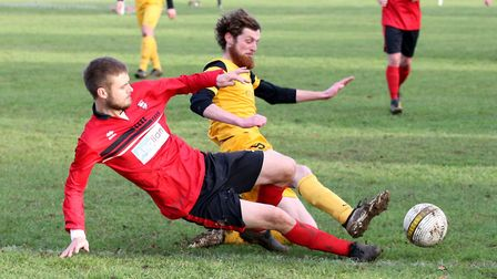 Action from Saturday's Anglian Combination Premier Division match between Waveney and Long Stratton,