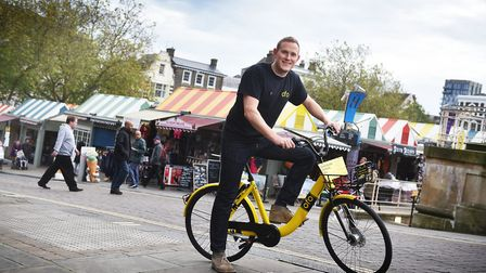 Operations manager, Joseph Seal-Driver, at the launch of ofo bikes in Norwich. Picture: ANTONY KELLY