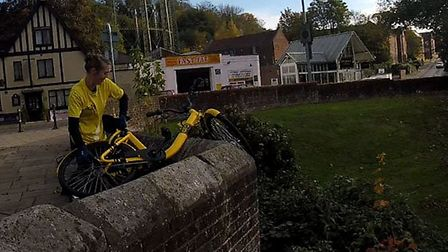 OFO bike being recovered from the river. Picture: Nigel Brocks