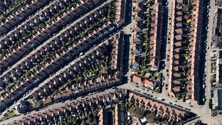 An aerial photograph taken of the Golden Triangle in Norwich. Picture: John Fielding