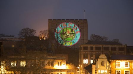 Circus250 logo projected on the side of Norwich Castle. Photo: Julian Swainson