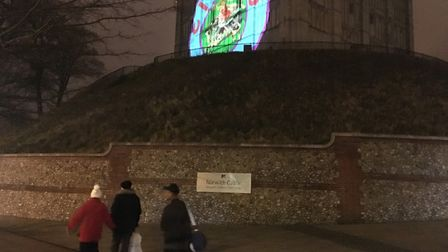 The side of Norwich Castle was lit up with a Sir Peter Blake Circus250 logo to celebrate the birth o