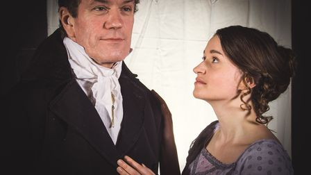 Phillip Rowe (Lord Byron) and and Verity Roat (Claire Claremont) in Blood and Ice. Photo: Sean Owen/