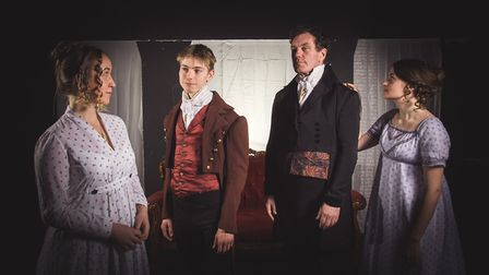 Emma Stephenson (Mary Shelley). Sam Todd (Percy Shelley), Phillip Rowe (Lord Byron) and Verity Roat