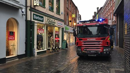 Fire crews at the scene of a fire on Bedford Street in Norwich. Picture Jacob Massey.