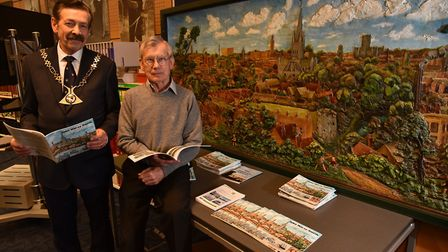 A panorama by John Moray-Smith is unveiled at the Heritage Library in Norwich where author Paul Bura