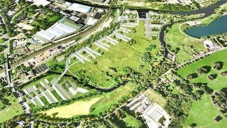 An aerial overview of how the Deal Ground site could look. Pic: Norwich City Council.