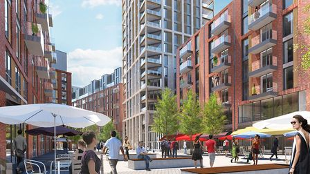 Artist's impression of the tower planned for Anglia Square. Picture: Weston Homes and Columbia Threa