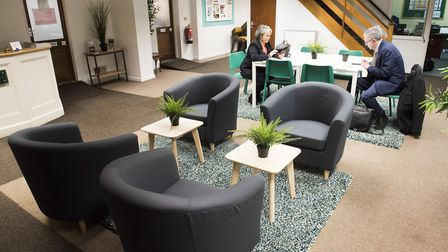The reception area of the Charing Cross Centre, Norwich which has had a £2500 makeover from IKEA.Pic