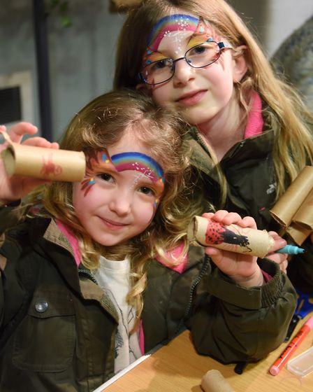 The caring for wildlife in winter weekend at Norwich Castle. Sisters Casey, four, and Taylor Ethridg