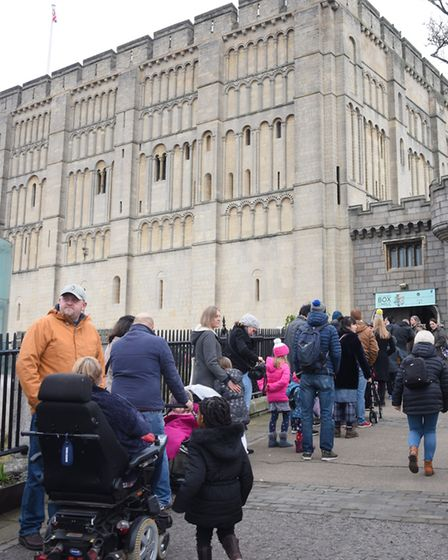 The queue for the caring for wildlife in winter weekend at Norwich Castle. Picture: DENISE BRADLEY