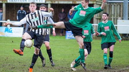 Kurtis Calaby converts from a corner for Swaffham Reserves on Saturday. Picture: Eddie Deane