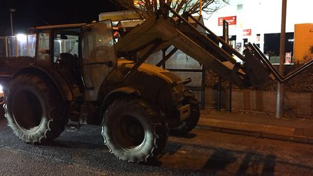 The stolen tractor which was driven through Swaffham town centre. Picture: NORFOLK POLICE