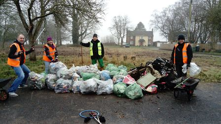 Members of the Watton Community Litter Pickers and town mayor Stan Hebborn (middle). Picture: Watton