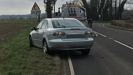The car seized by police on he Ovington bends, near Watton. Picture: NORFOLK POLICE