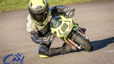 Eight-year-old Mason Foster in action. Picture: Cool Fab Racing