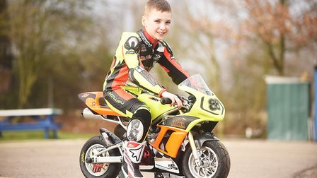 Mason Foster (8) who competes in Mini-Moto, has signed up for the Italian championship team. Ian Bur