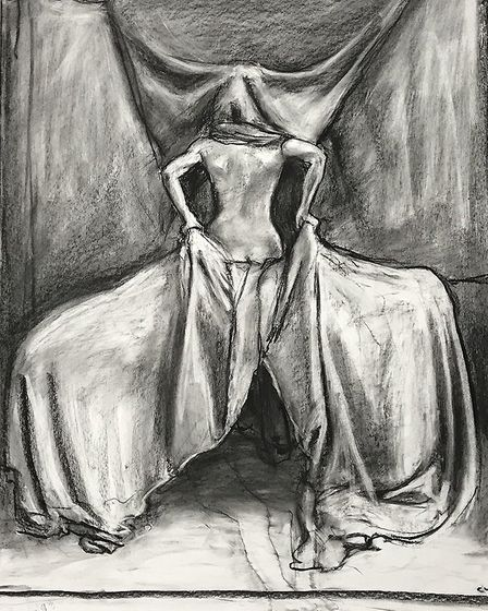 Study for a painting #11, charcoal on paper, 112 x 69 cm, Craig Wylie 2013
