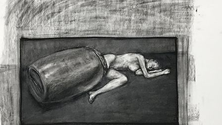 Study for a painting #9, charcoal on paper, 69 x 112 cm, Craig Wylie 2013