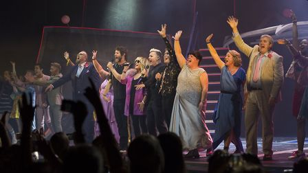 Lulu and Take That join the cast on stage at the press night for The Band. Photo: Phil Treagus