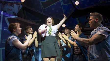Faye Christall as Young Rachel (centre) with Five To Five as The Band in The Band. Photo: Matt Crock