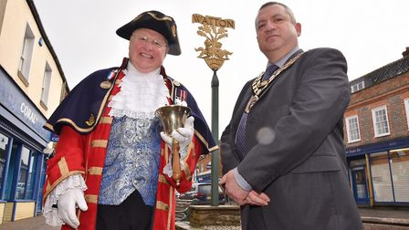 Watton have appointed Mike Wabe as their Town Crier. He's pictures with mayor, Stan Hebborn.Byline: