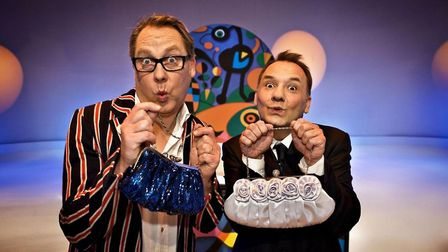 Vic Reeves and Bob Mortimer on the set of Shooting Stars. Photo: BBC/Pett Productions