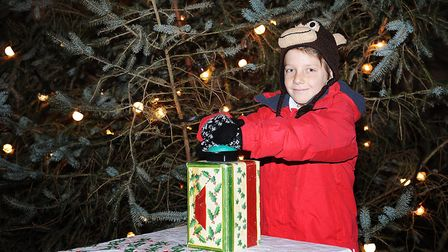 Archie Ramshaw aged 9 turning on the Christmas lights at the Queen Elizabeth Hospital in King's Lynn