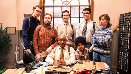 John Kearns amongst the cast of BBC3 comedy Top Coppers. Photo: Rough Cut/BBC