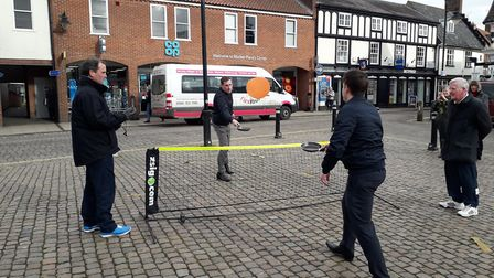 Estate agents batter it out in Wymondham in quite possibly the town's first ever game of pancake ten