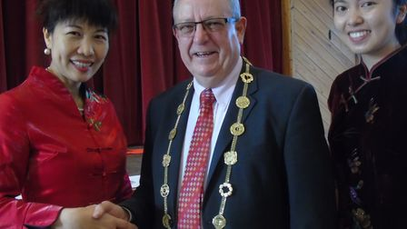 Lord Mayor of Norwich, David Fullman was one of guests at Hethersett Village Hall welcoming artists