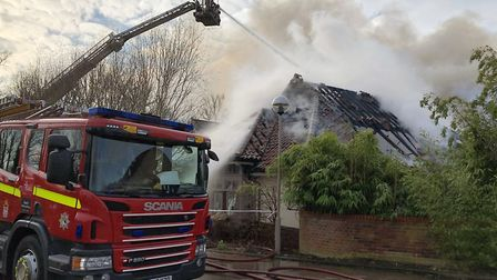 Norfolk Fire Service attending to the serious fire at Breckland Lodge. Picture: NORFOLK FIRE SERVICE