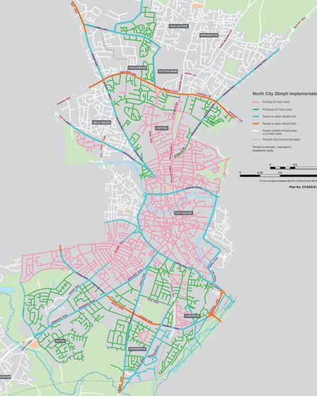Map displaying roads earmarked for 20mph speed limits in future. Picture: Transport for Norfolk