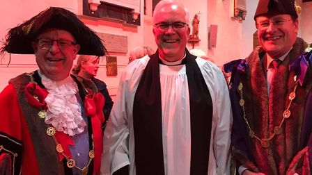 Rev Paul Rider with the Lord Mayor and Sheriff of Norwich at his licensing service. Picture: Heather