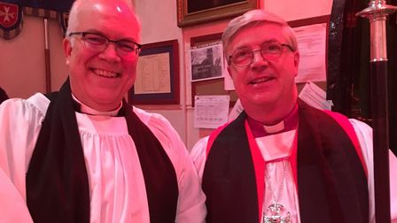 Rev Paul Rider with the Bishop of Norwich. Picture: Heather Woodcock