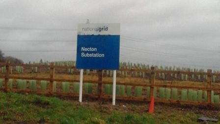 The Dudgeon / National Grid substation sign after the graffiti was removed. Picture: Jenny Smedley