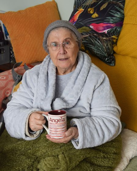 Angel Semple, 79, who is disabled, has had no heating or hot water for a week, and is keeping the ov