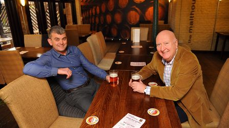 Steve Fiske and owner Mike Lorenz at the Whalebone Freehouse pub in Norwich. Picture by SIMON FINLAY
