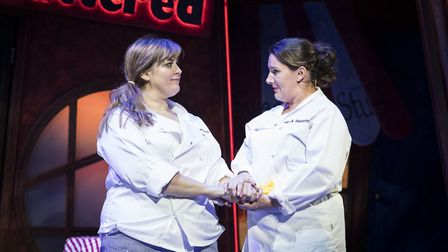 Jodie Prenger and Sam Bailey in Fat Friends. Photo: Helen Maybanks