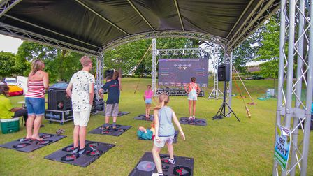 Nearly Norwich Kids Zone with dance mats and screen . Photo: Top Cat Media