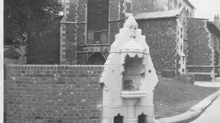 A former drinking fountain in Colegate. Picture: Archant library - June 25, 1975