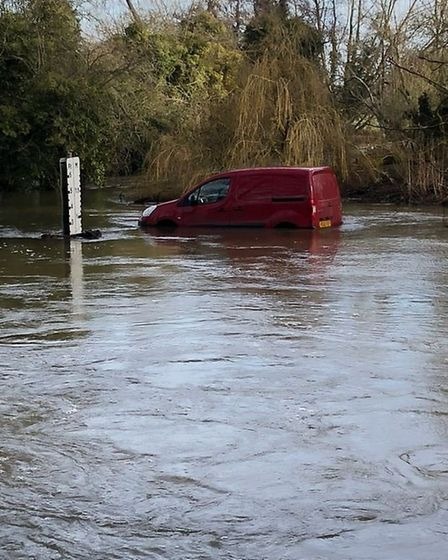 A man was rescued this morning after attempting to drive through a ford in Shotesham. Photo: N&S Roa