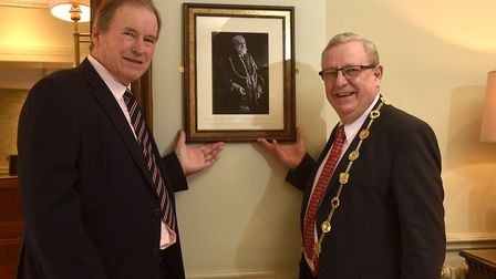 Opening of the newly refurbished rooms at The Maids Head Hotel, Norwich. Unveiling of a photograph o