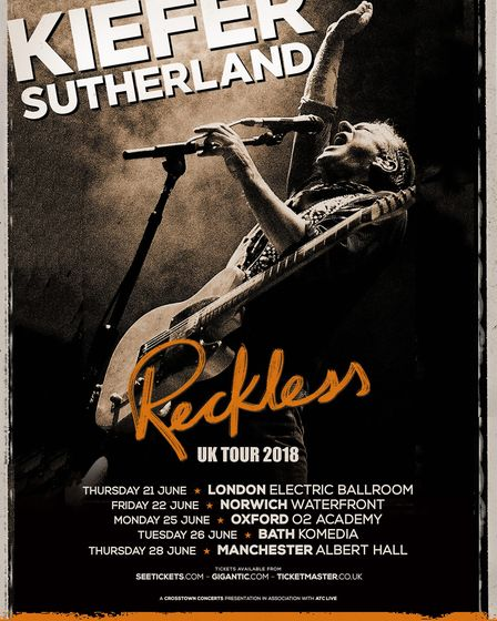 Kiefer Sutherland who will be performing in Norwich as part of a UK tour. Photo: Submitted