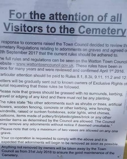 The sign placed at Watton Cemetery. Picture: Angi Davies