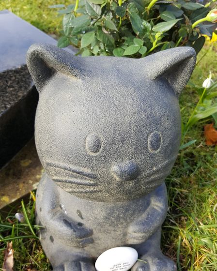 A stone cat at the grave of Shelia Younge at Watton Cemetery. Angi Davies is upset that this would b