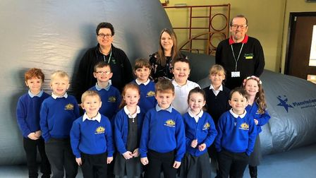 StarLincs Planetarium staff with Watton and Westfield Infant and Nursery School science leader Lizzi